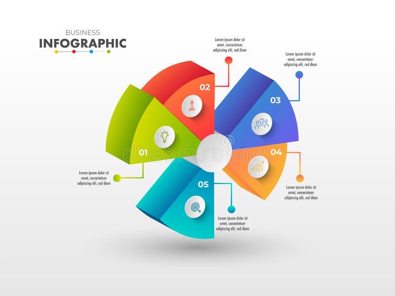 Kleurrijk 3D Statistisch cirkeldiagram op witte achtergrond stock illustratie