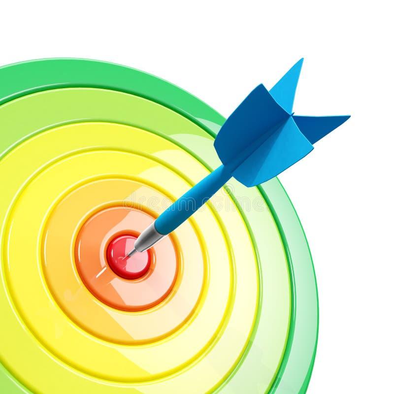 Kleurrijk dartboard met een pijltje in het centrum royalty-vrije illustratie