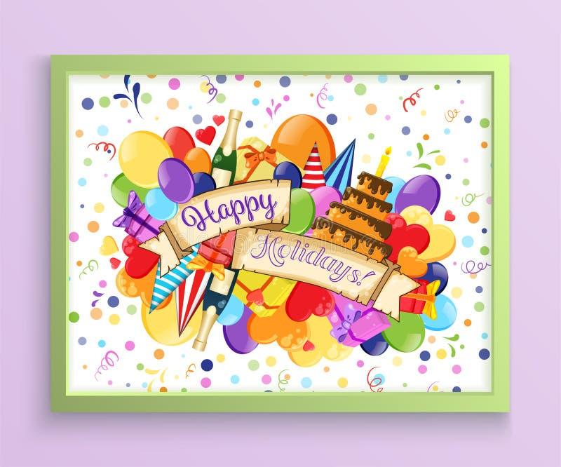 Kleurrijk de affichemalplaatje van de krabbelhand getrokken vakantie Kleurrijk vectorkunstwerk Collectief identiteitsontwerp Patr stock fotografie