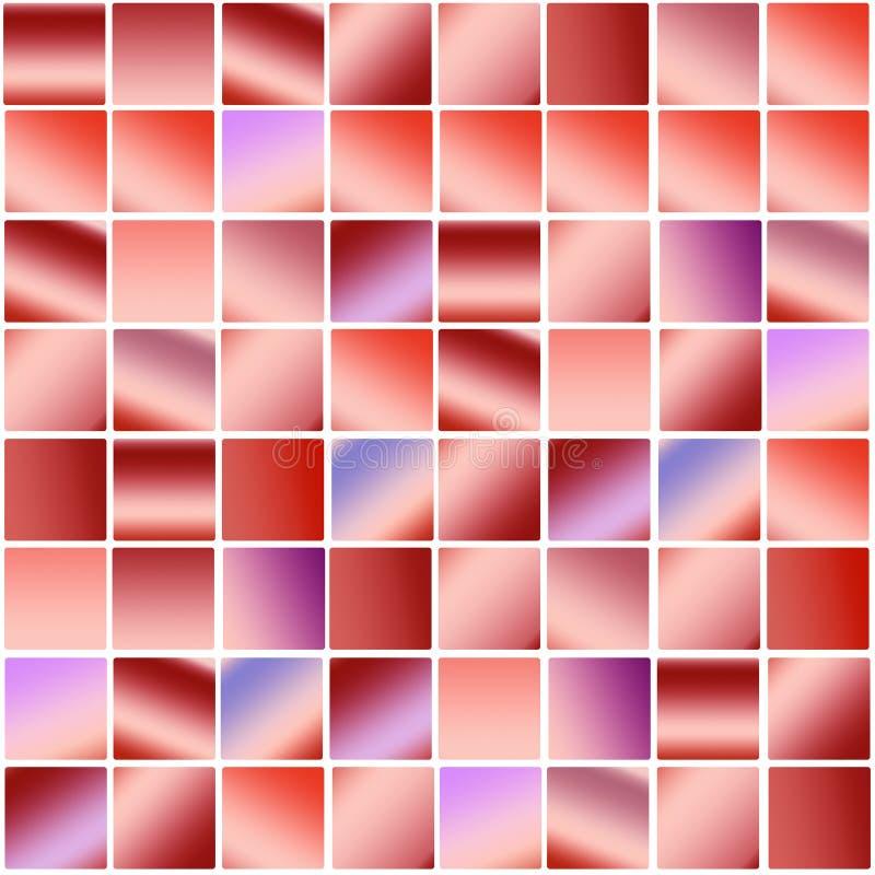 In kleurrijk de bannerontwerp van het pastelkleur rood en violet vierkant mozaïek royalty-vrije illustratie