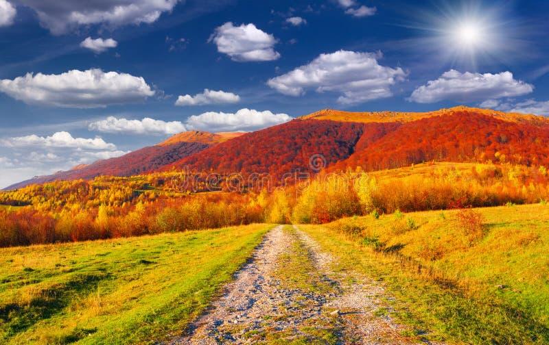 Kleurrijk de herfstlandschap in bergen royalty-vrije stock afbeelding