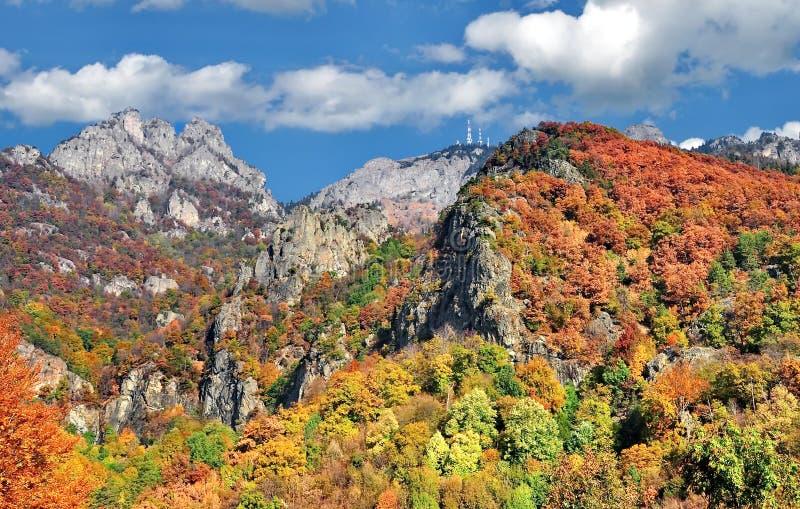 Kleurrijk de herfstlandschap in de berg stock foto