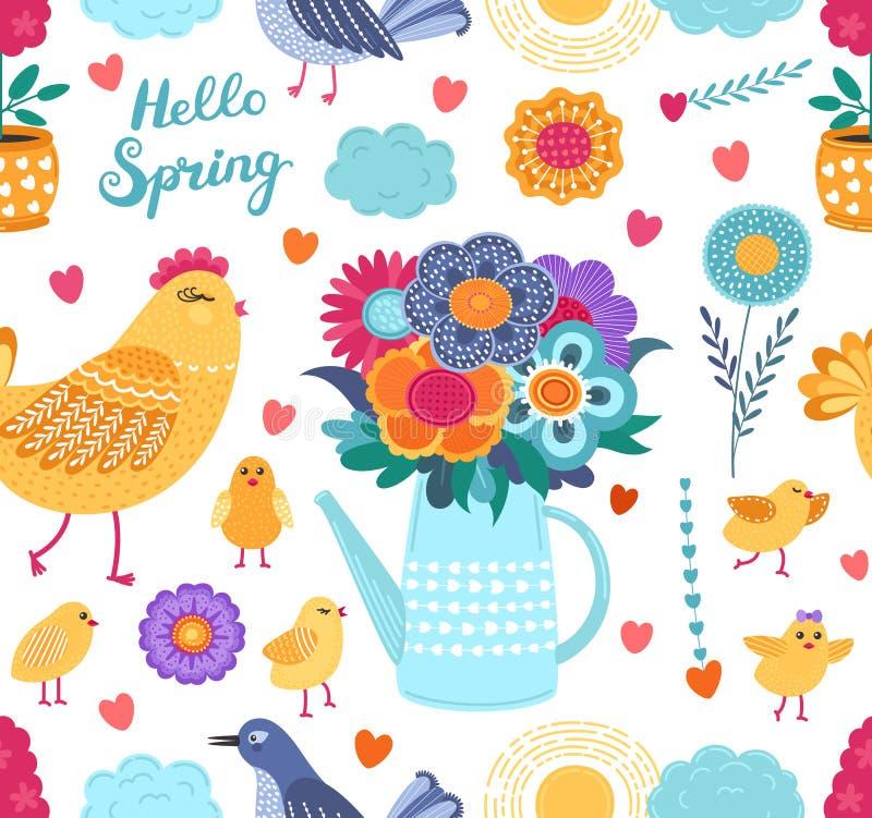 Kleurrijk de lente grappig vector naadloos patroon met bloemen en vogels op witte achtergrond vector illustratie