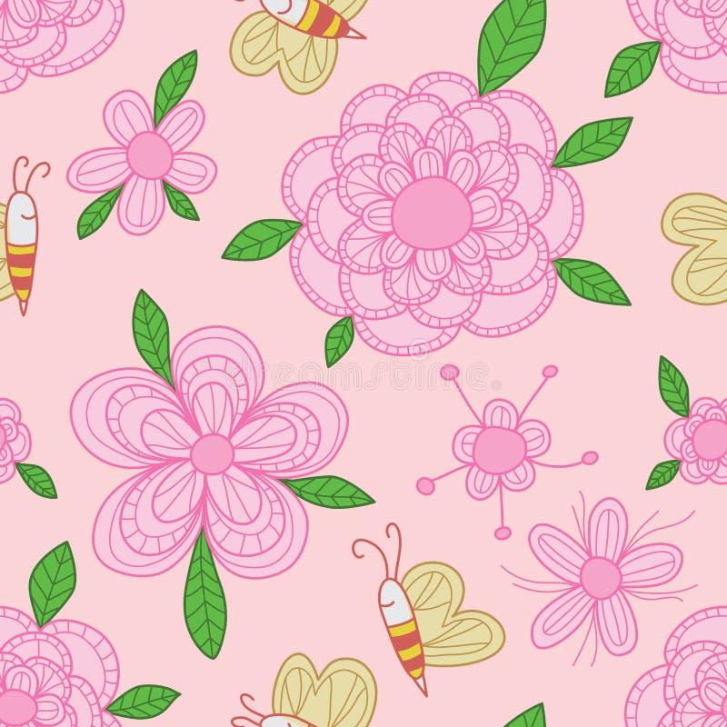 Kleurrijk de pastelkleur naadloos patroon van de bijenbloem stock illustratie