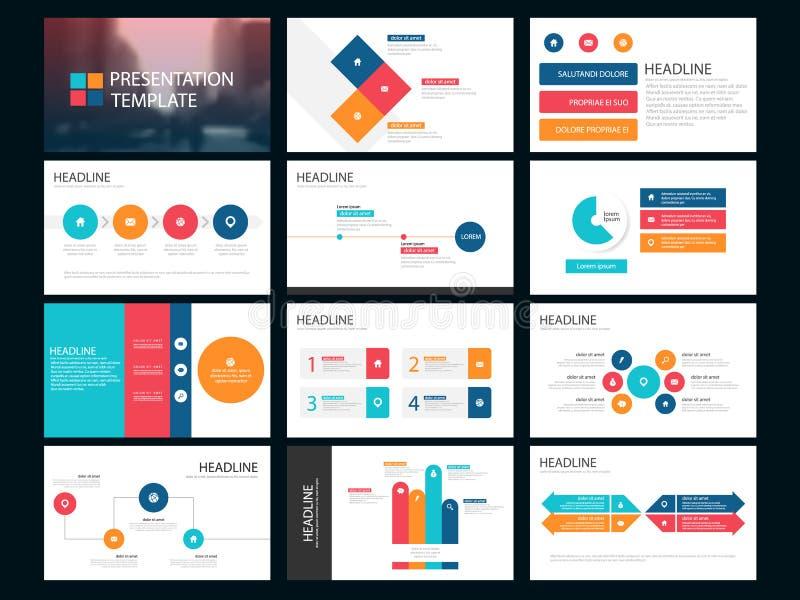 Kleurrijk de presentatiemalplaatje van Bundel infographic elementen bedrijfs jaarverslag, brochure, pamflet, reclamevlieger, vector illustratie