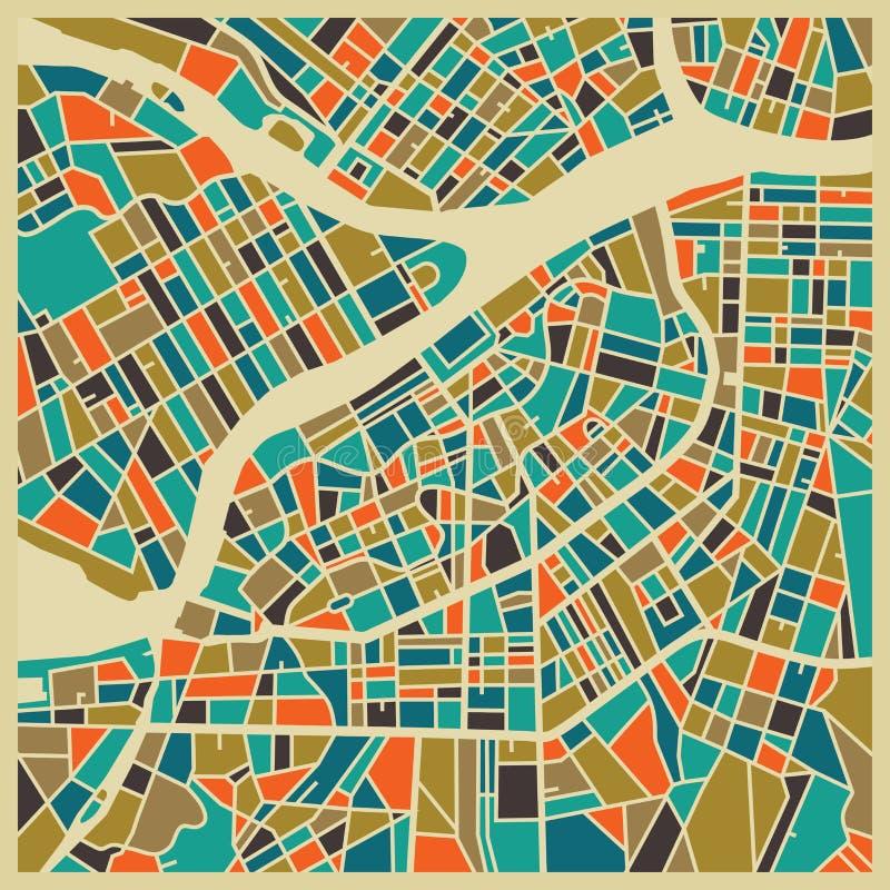 Kleurrijk de stadsplan van heilige Petersburg royalty-vrije illustratie