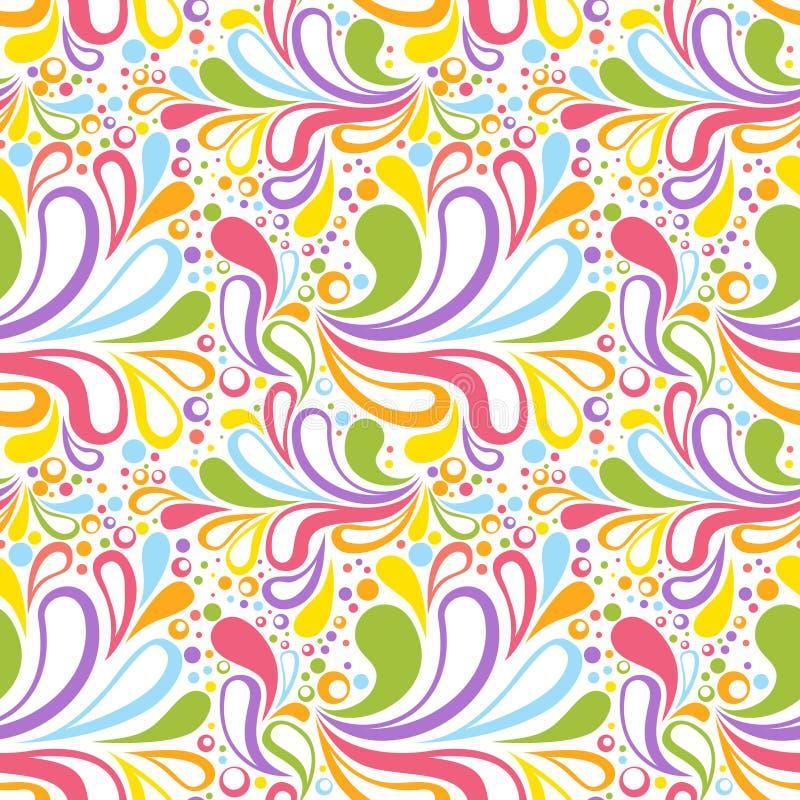 Kleurrijk de zomer naadloos patroon met bloemenkromme stock illustratie