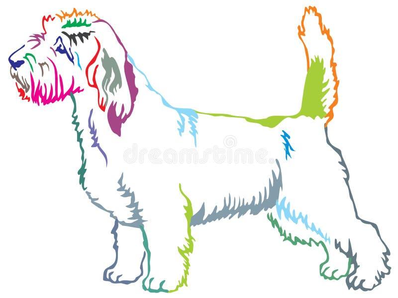 Kleurrijk decoratief bevindend portret van Petit Basset Griffon Ve vector illustratie