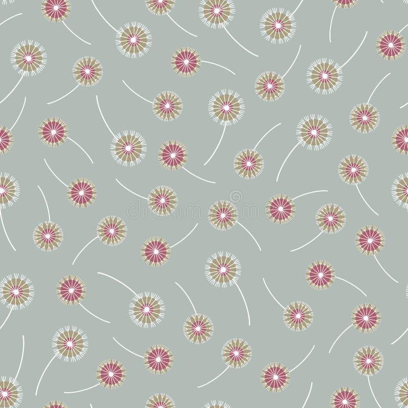 Kleurrijk decoratief naadloos vectorpatroon met abstracte paardebloemen op groene achtergrond Het ontwerp van het oppervlaktepatr vector illustratie