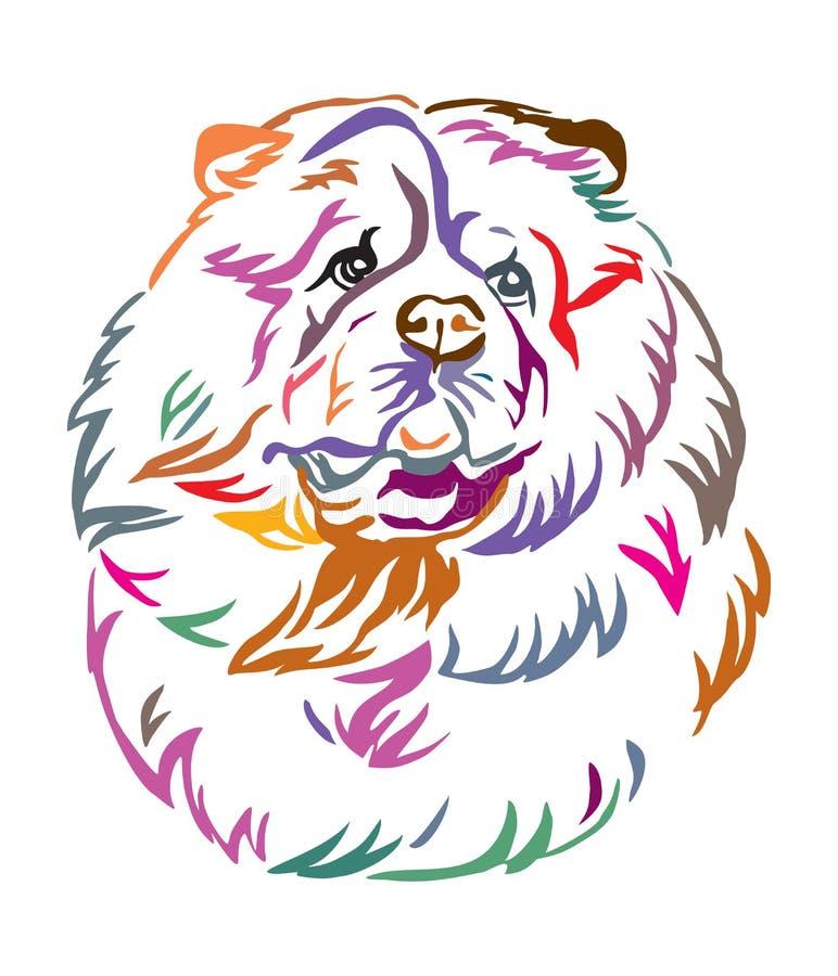 Kleurrijk decoratief portret van de vectorillustratie van Chow Chow Dog vector illustratie