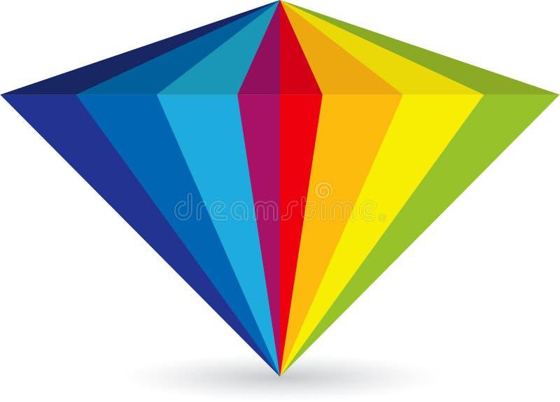 Kleurrijk diamantembleem stock illustratie