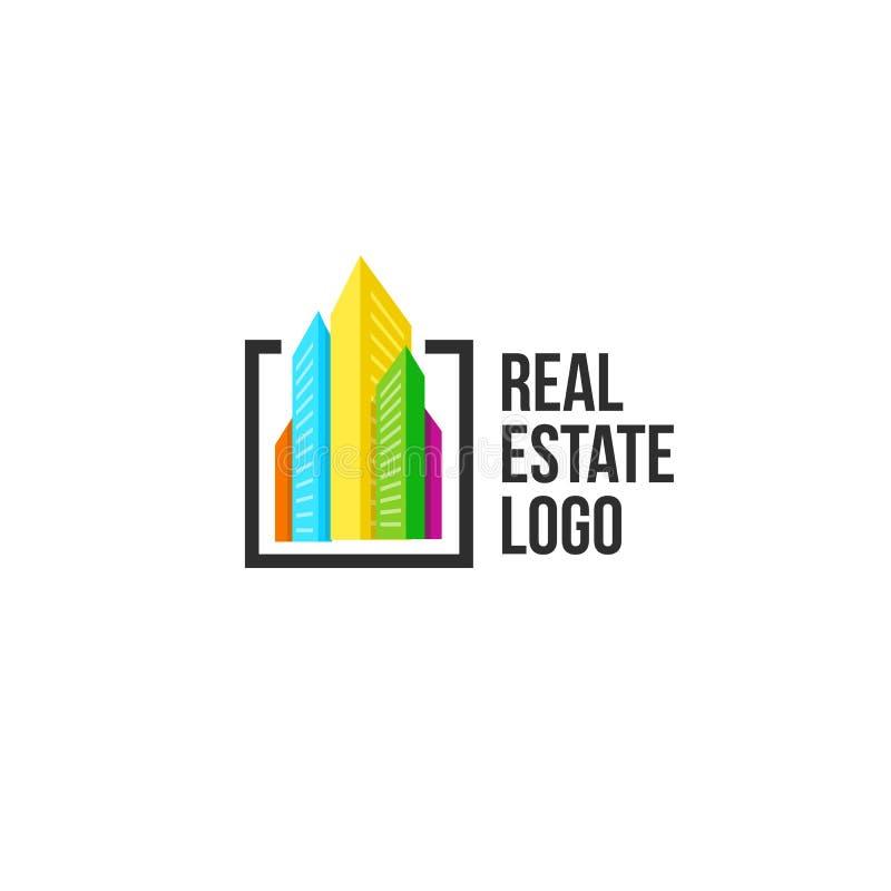 Kleurrijk die cityscape embleem in zwart kader wordt geplaatst Nieuwe gebouwen logotype Het malplaatje van het makelaardijteken vector illustratie