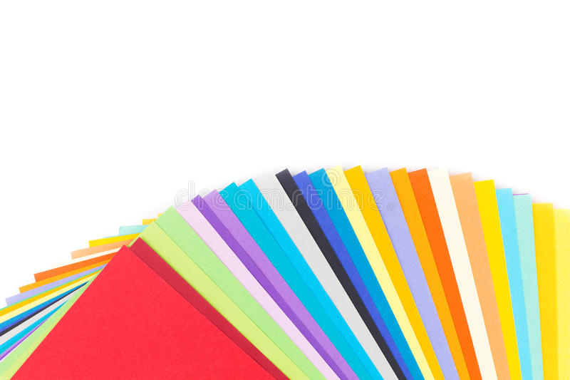 Kleurrijk die Document op wit wordt geïsoleerd stock fotografie