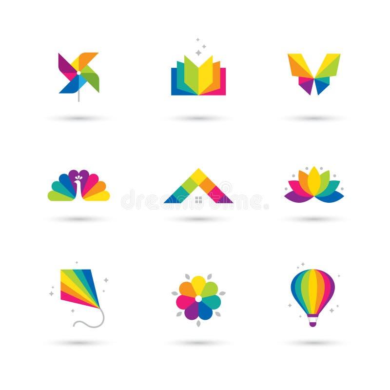 Kleurrijk die pictogram en embleem op witte achtergrond wordt geplaatst stock illustratie