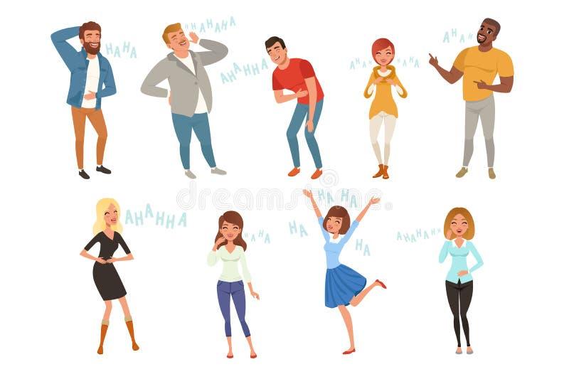 Kleurrijk die pictogram met luid lachende mensen bij grappige grap wordt geplaatst Van beeldverhaalmannen en vrouwen karakters in vector illustratie