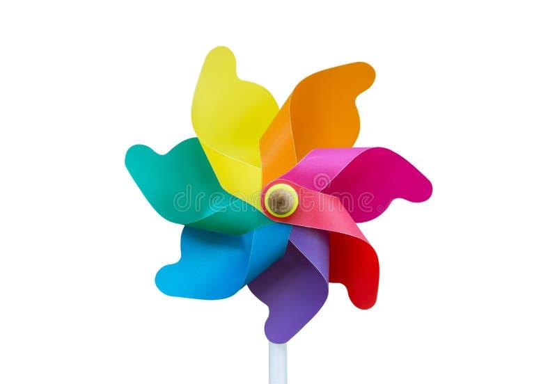 Kleurrijk die vuurradstuk speelgoed op witte achtergrond wordt geïsoleerd Ge?soleerde de turbine van de wind Geïsoleerde windmole stock afbeeldingen