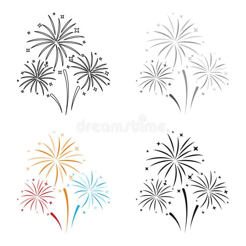 Kleurrijk die vuurwerkpictogram in beeldverhaalstijl op witte achtergrond wordt geïsoleerd Van de het symboolvoorraad van de gebe vector illustratie