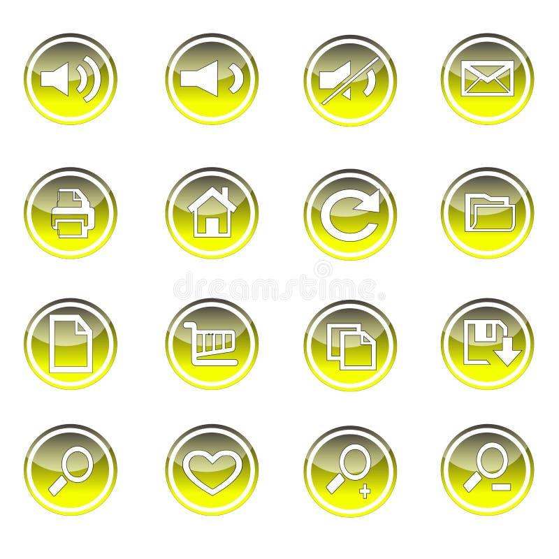 Kleurrijk die Web en technologiepictogram op cirkel wordt geplaatst stock illustratie