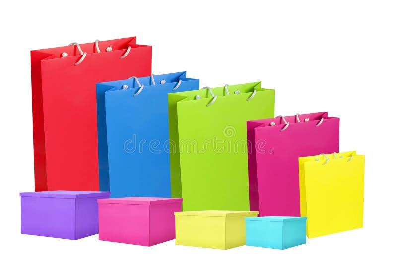 Kleurrijk document het winkelen geïsoleerde zakken en vakje royalty-vrije stock foto's