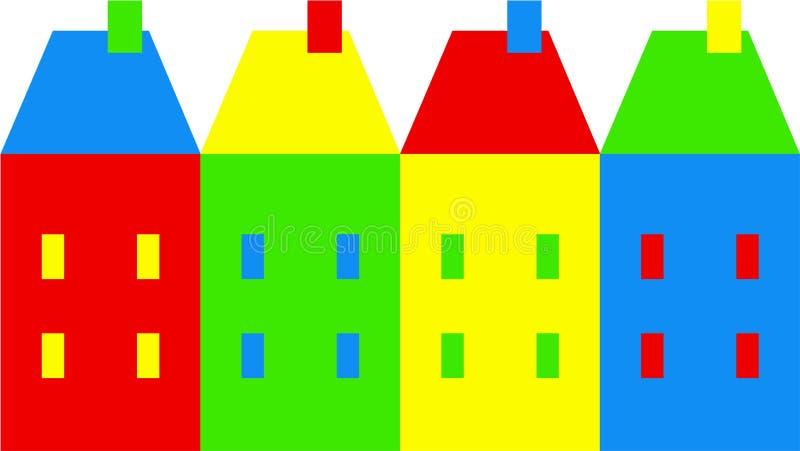 Kleurrijk dorp royalty-vrije illustratie