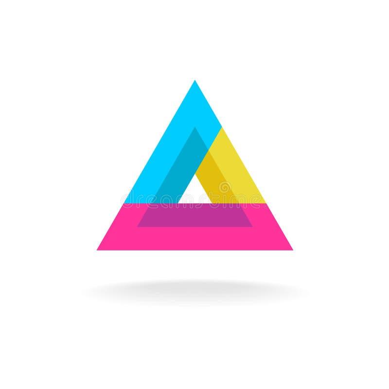 Kleurrijk driehoeksembleem stock illustratie