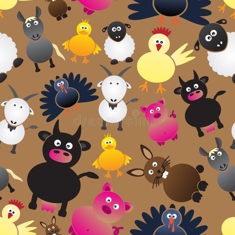 Kleurrijk eenvoudig de pictogrammen naadloos patroon van landbouwbedrijfdieren stock illustratie