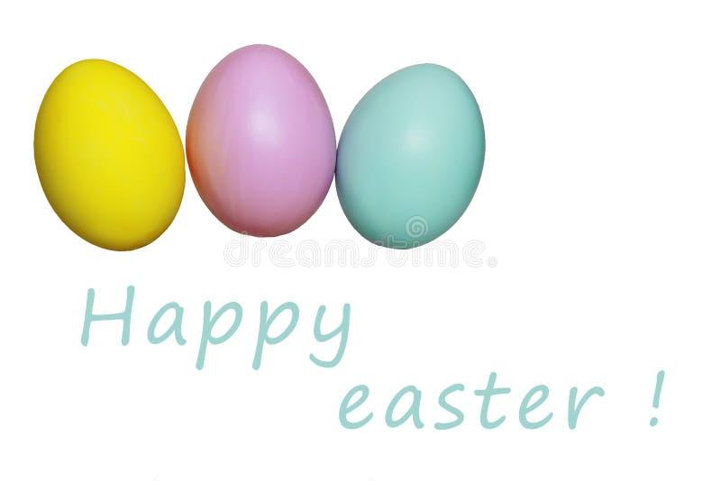 Kleurrijk eieren blauw geel roze voor Pasen-vakantie royalty-vrije stock foto's