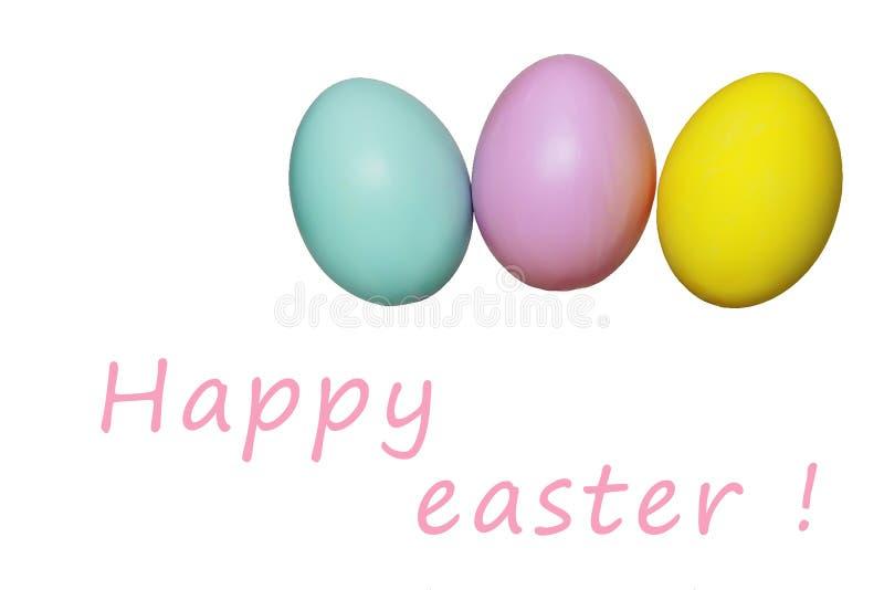 Kleurrijk eieren blauw geel roze voor Pasen-vakantie stock afbeelding