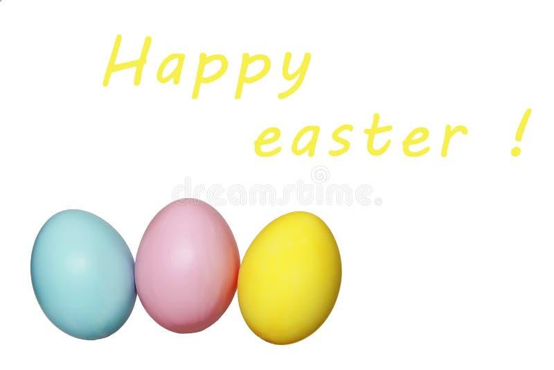 Kleurrijk eieren blauw geel roze voor Pasen-vakantie royalty-vrije stock fotografie