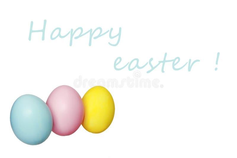 Kleurrijk eieren blauw geel roze voor Pasen-vakantie stock foto's