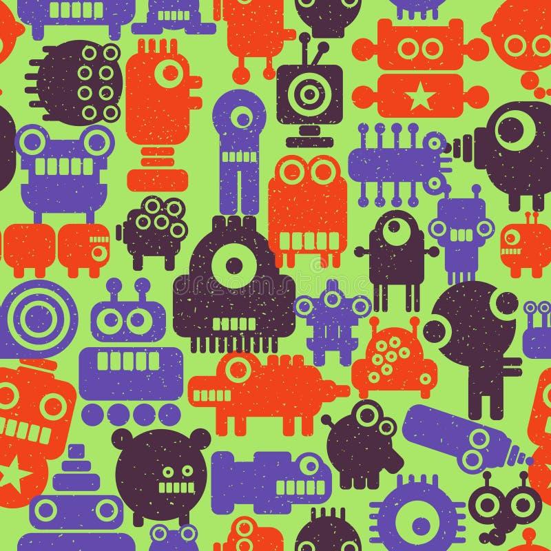 Kleurrijk eindeloos patroon met robots en monsters stock illustratie