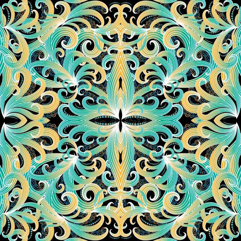 Kleurrijk elegantie bloemen vector naadloos patroon Sier etnische stijlachtergrond Decoratief herhaal achtergrond Uitstekende han vector illustratie