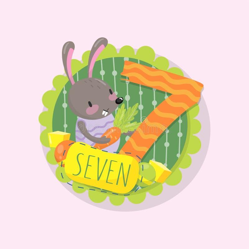 Kleurrijk embleem met weinig konijntje en nummer 7 zeven Leer te tellen Goed voor beginners in wiskunde Vlak vectorontwerp stock illustratie