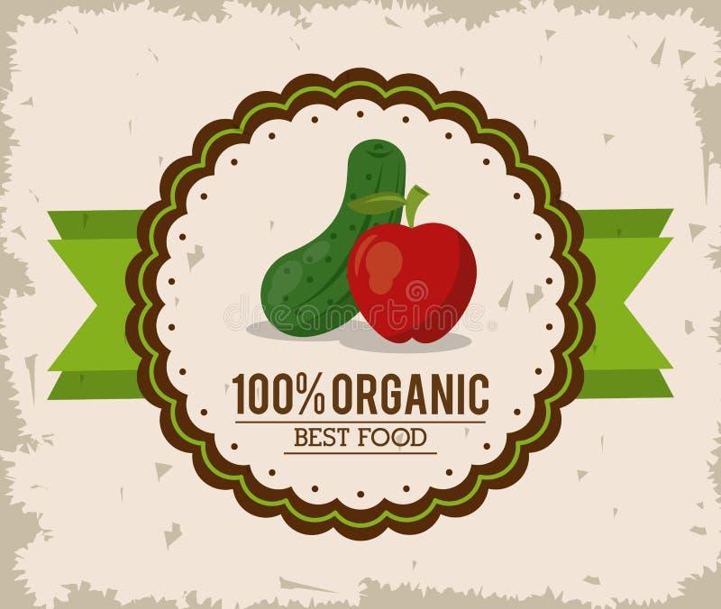 Kleurrijk embleem van organisch beste voedsel met komkommer en appel stock illustratie