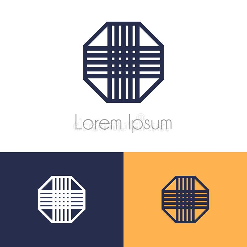 Kleurrijk embleemmalplaatje, geometrisch symbool met voorproef twee zwart-wit voor bedrijfmerk royalty-vrije illustratie