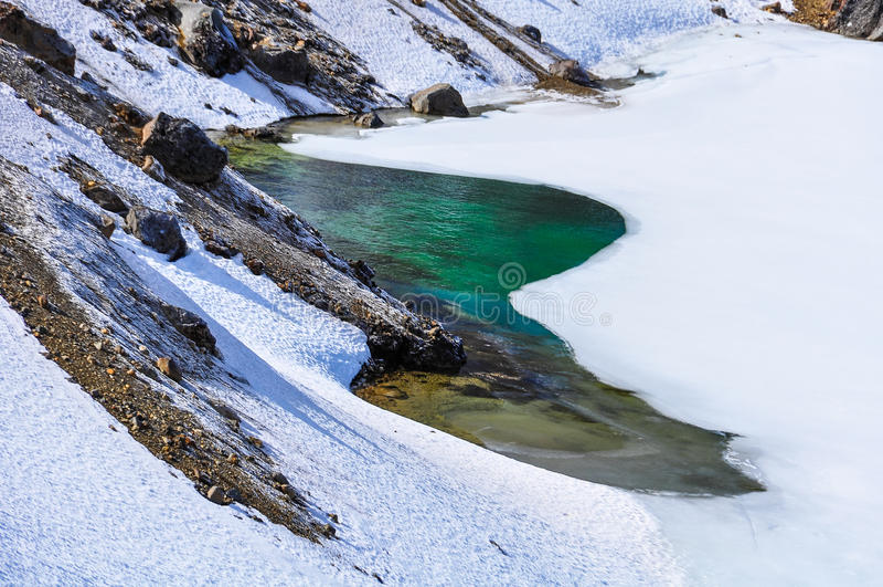 Kleurrijk Emerald Lake in het Nationale Park van Tongariro, Nieuwe Zealan stock fotografie