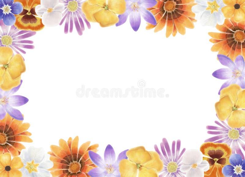 Kleurrijk en mooi de bloemenkader van de waterverflente royalty-vrije illustratie