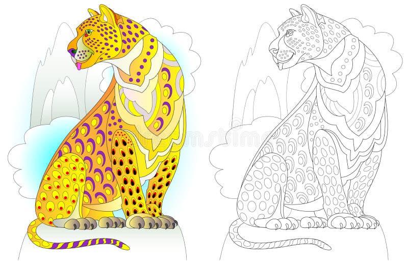 Kleurrijk en zwart-wit patroon voor het kleuren Illustratie van sprookjeslandluipaard Aantekenvel voor kinderen en volwassenen vector illustratie