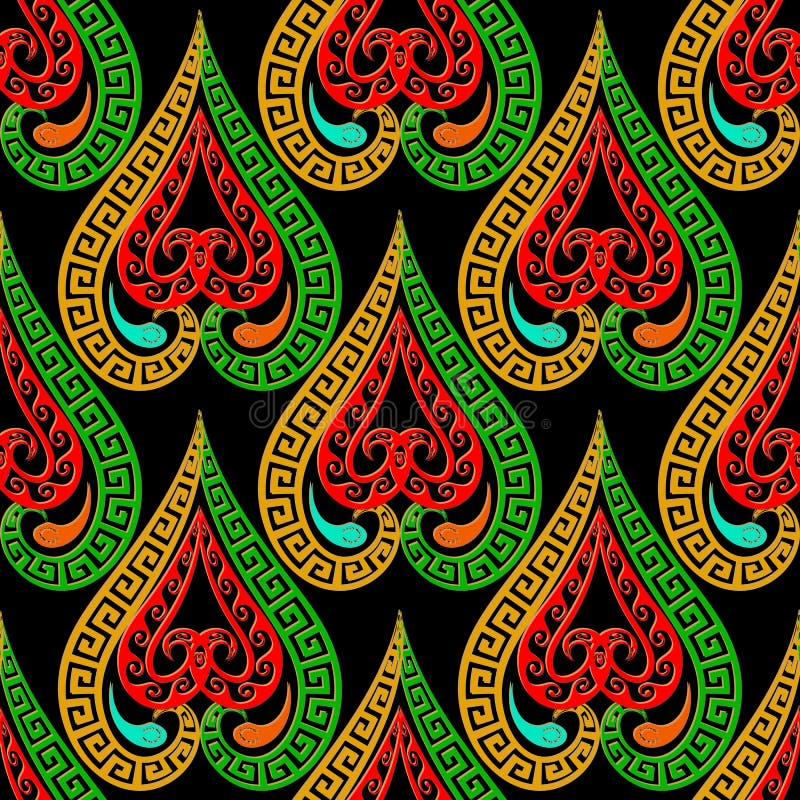 Kleurrijk etnisch stijl sier Grieks vector naadloos patroon De heldere overladen achtergrond van liefdeharten met de bloemen van  royalty-vrije illustratie
