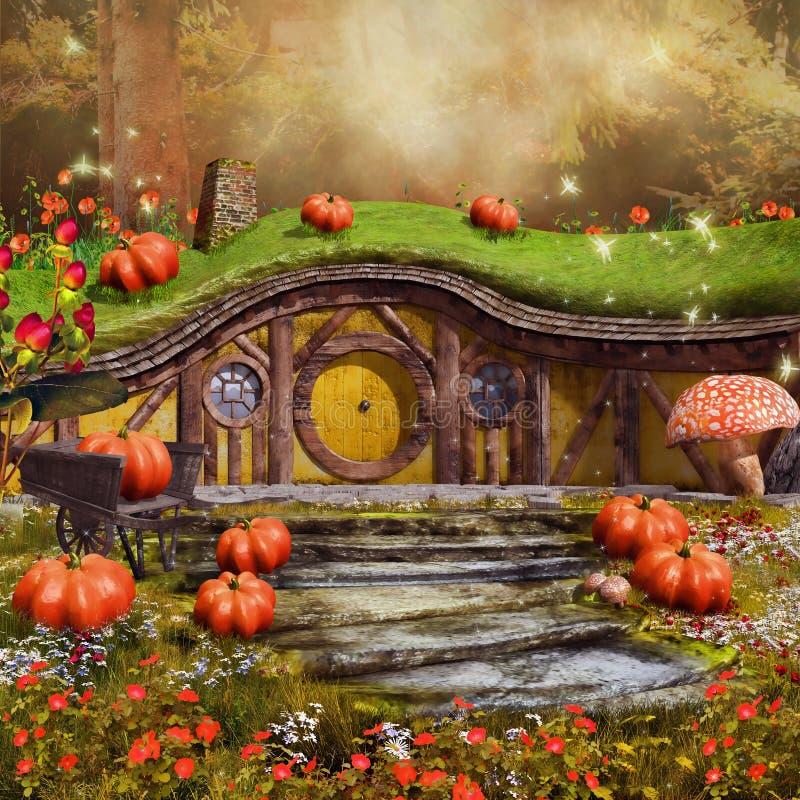Kleurrijk fairytaleplattelandshuisje vector illustratie