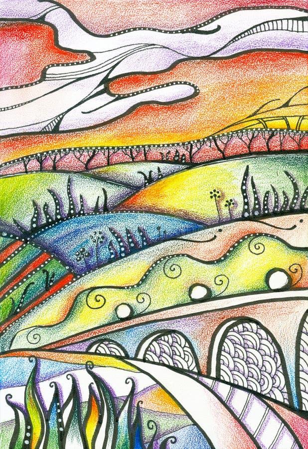 Kleurrijk feelandschap Heldere heuvels met verschillende installaties onder rode hemel vector illustratie