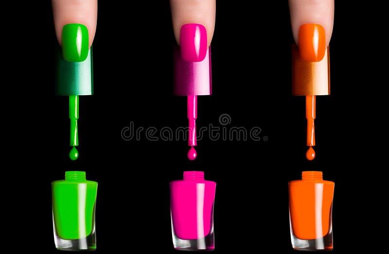 Kleurrijk Fluor-Nagellak stock afbeeldingen