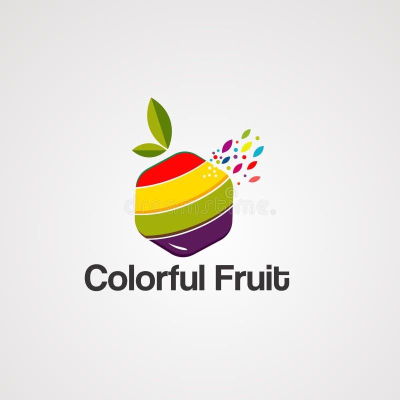 Kleurrijk fruit op doos met de vector, het pictogram, het element, en het malplaatje van het bladembleem voor bedrijf vector illustratie