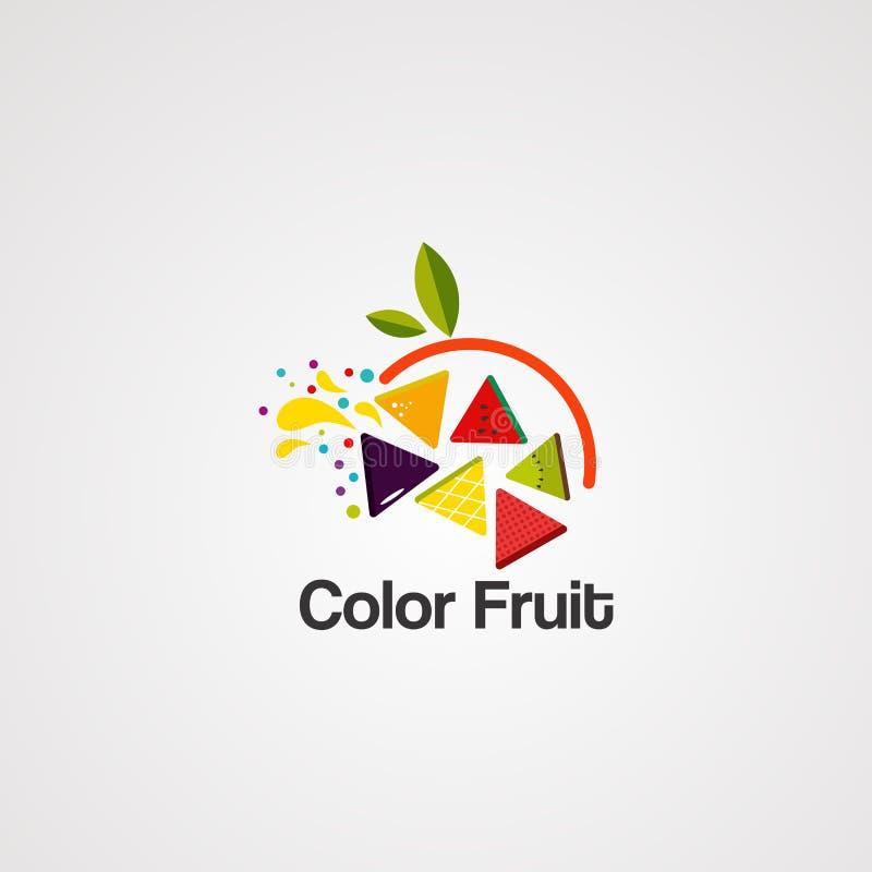 Kleurrijk fruit op kring met de vector, het pictogram, het element, en het malplaatje van het bladembleem voor bedrijf vector illustratie