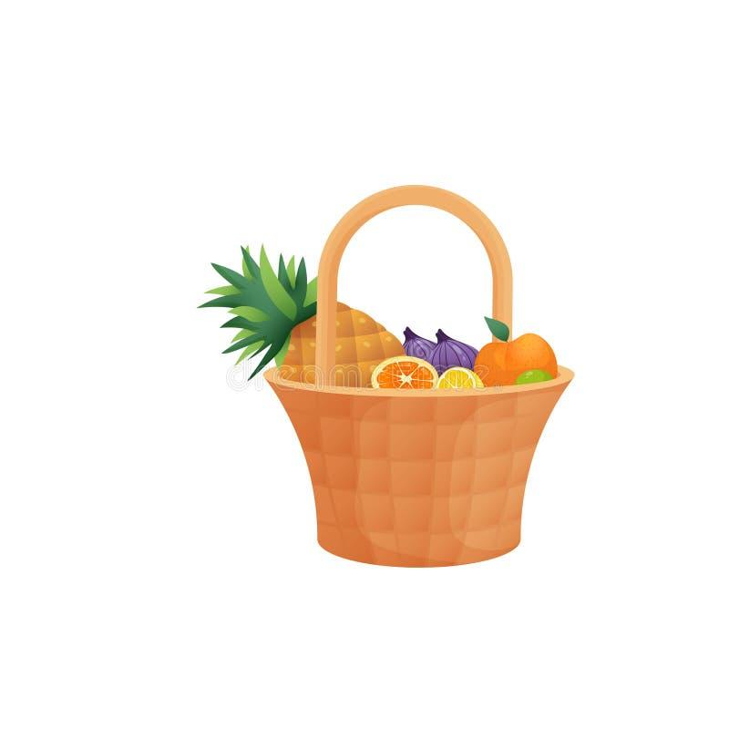 Kleurrijk fruit in rieten die mand met handvat over witte achtergrond wordt geïsoleerd stock illustratie