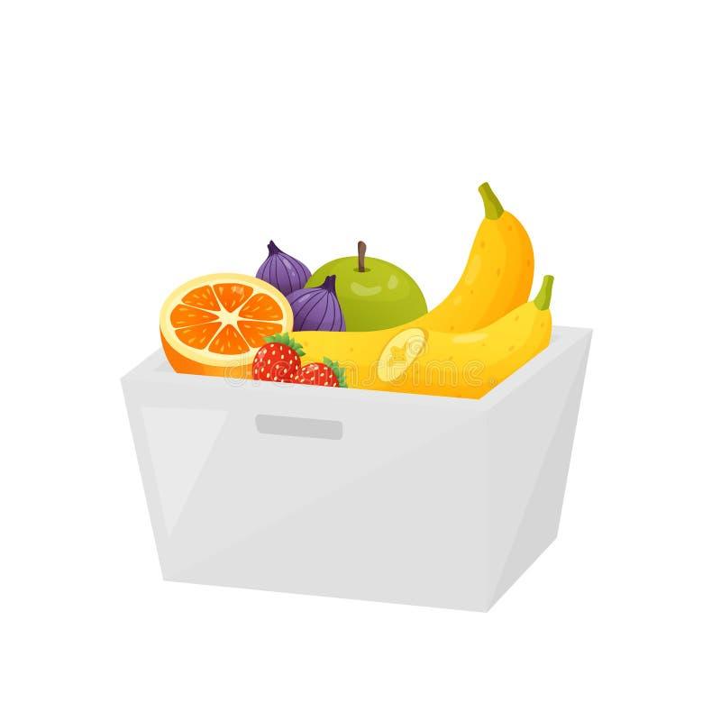 Kleurrijk fruit in transparante die container over witte achtergrond wordt geïsoleerd stock illustratie
