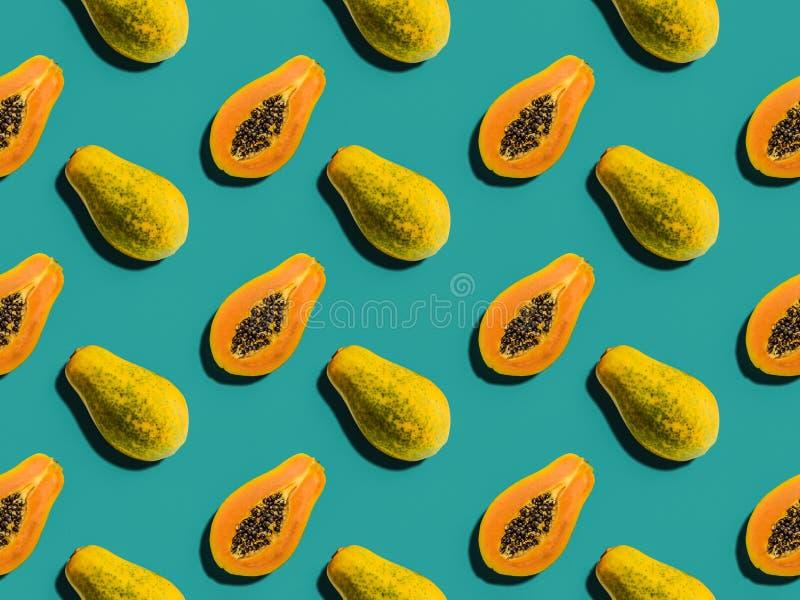 Kleurrijk fruitpatroon van papajavruchten stock afbeelding