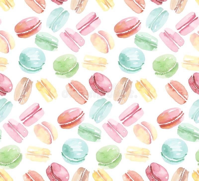 Kleurrijk geassorteerd makaron naadloos patroon royalty-vrije illustratie