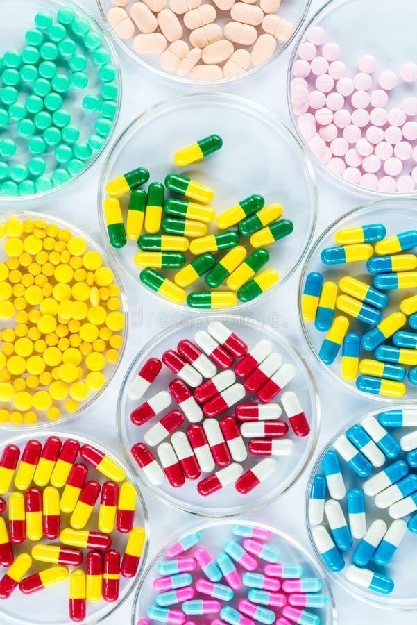 Kleurrijk geneesmiddel in Petri Dish, Gezondheidszorg en Geneeskunde royalty-vrije stock fotografie