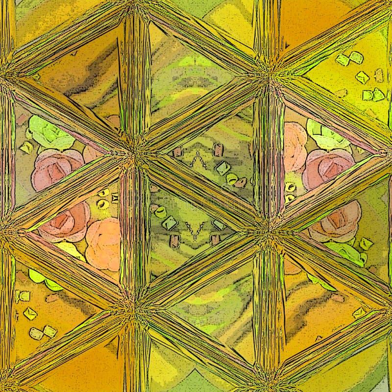 Kleurrijk Geometrisch Art Background Gebarsten of Gebroken Glas Gele abstracte geometrische achtergrond De achtergrond van veelho royalty-vrije stock foto's